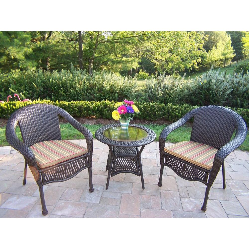 Oakland Living Elite Resin 3-Piece Wicker Patio Bistro Set with Striped  Olive Cushions - Oakland Living Elite Resin 3-Piece Wicker Patio Bistro Set With
