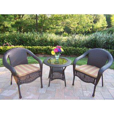 Elite Resin 3 Piece Wicker Patio Bistro Set With Striped Olive Cushions