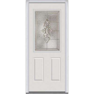 36 in. x 80 in. Heirloom Master Left-Hand Inswing 1/2-Lite Decorative Painted Fiberglass Smooth Prehung Front Door