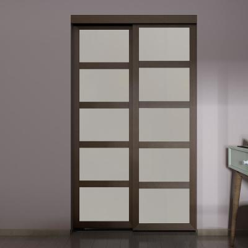 48 in. x 80.5 in. 5-Lite Indoor Studio MDF Wood Mocha Frame with Frosted Glass Interior Sliding Closet Door