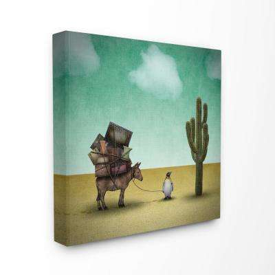 """17 in. x 17 in. """"Surreal Penguin Traveling The Desert with A Donkey Illustration"""" by Greg Noblin Canvas Wall Art"""