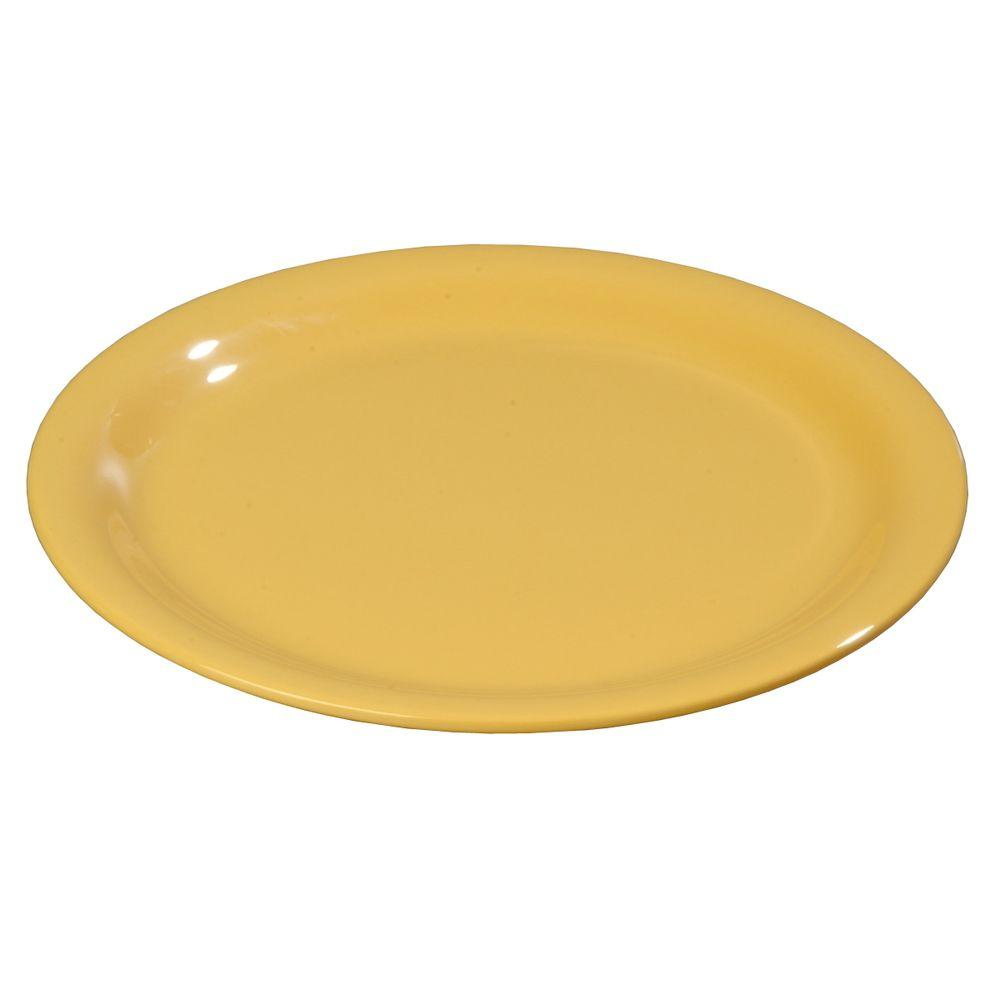 7.25 in. Diameter Melamine Narrow Rim Salad Plate in Honey Yellow