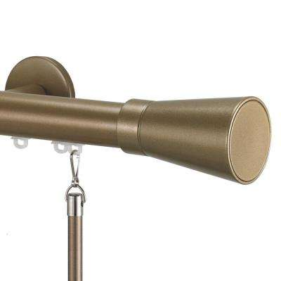 Tekno 25 Decorative 60 in. Traverse Rod in Champagne with Linea Finial