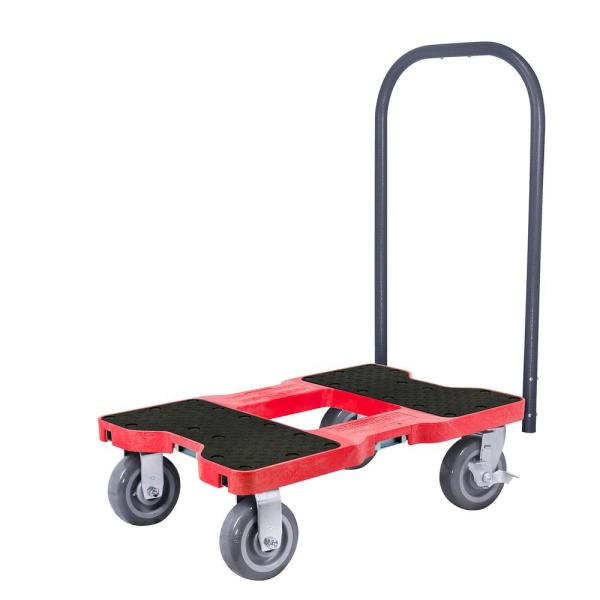 1,800 lbs. Capacity Super-Duty Professional E-Track Push Cart Dolly in Red