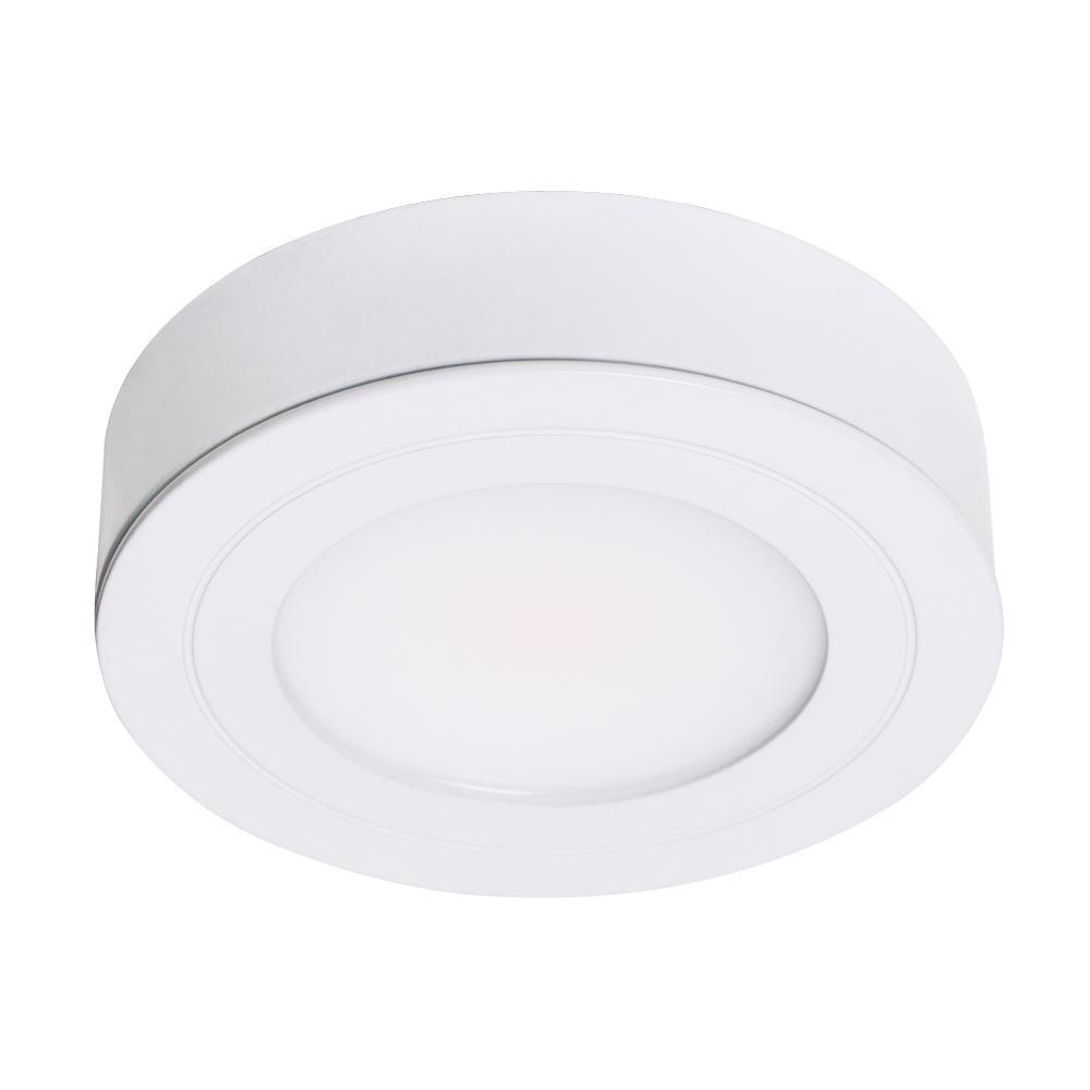 PureVue Dimmable Bright White LED Puck Light Matte White Finish
