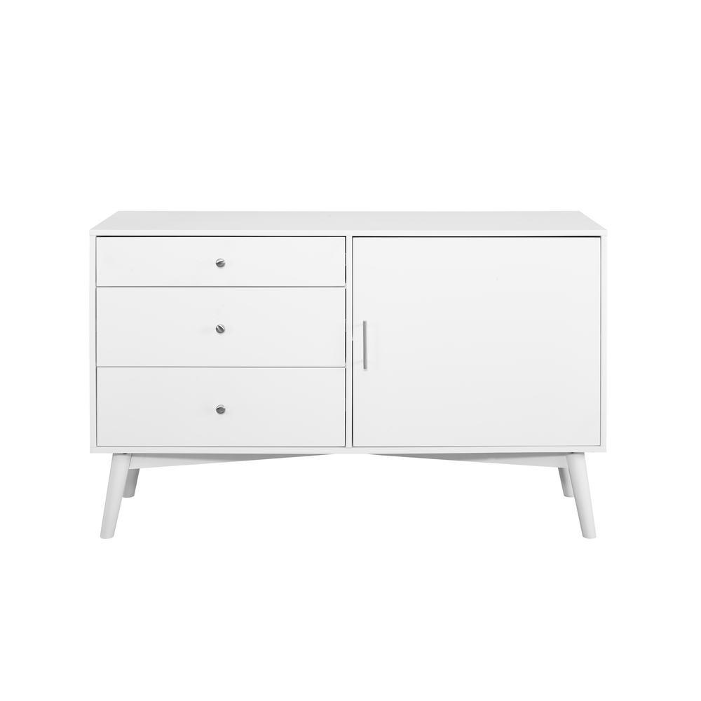Walker Edison Furniture Company 52 In White Mid Century Tv Console