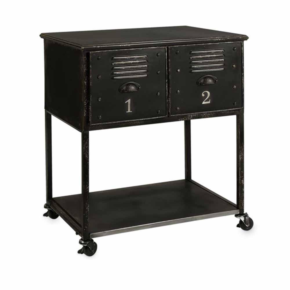 Alastor 2-Drawer Black Rolling Cart Table
