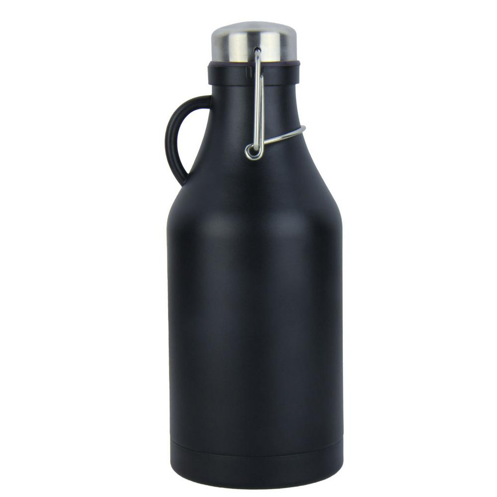 The Grizzly Black 32 oz. Double Wall Flip Top Beer Growler
