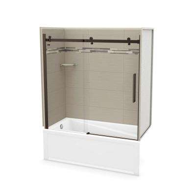 Utile Origin 30 in. x 59.8 in. x 81.4 in. Left Drain Alcove Bath and Shower Kit in Greige with Dark Bronze Door