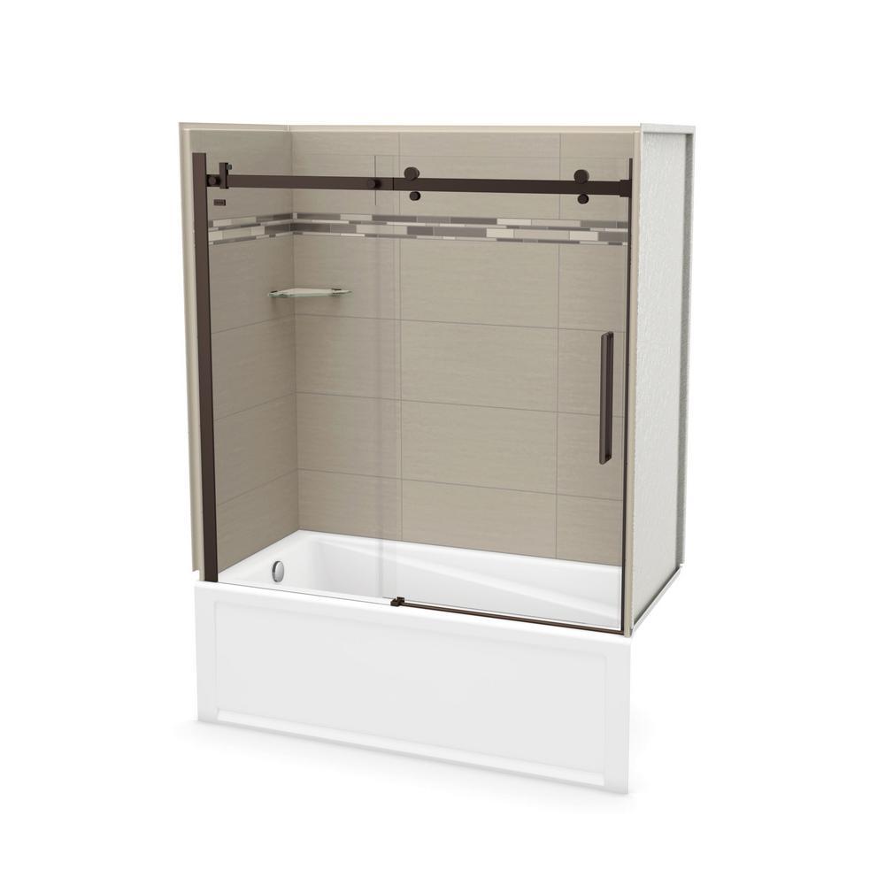 Utile Origin 30 in. x 59.8 in. x 81.4 in. Left Drain Alcove Bath and Shower Kit in Greige with Dark Bronze Door