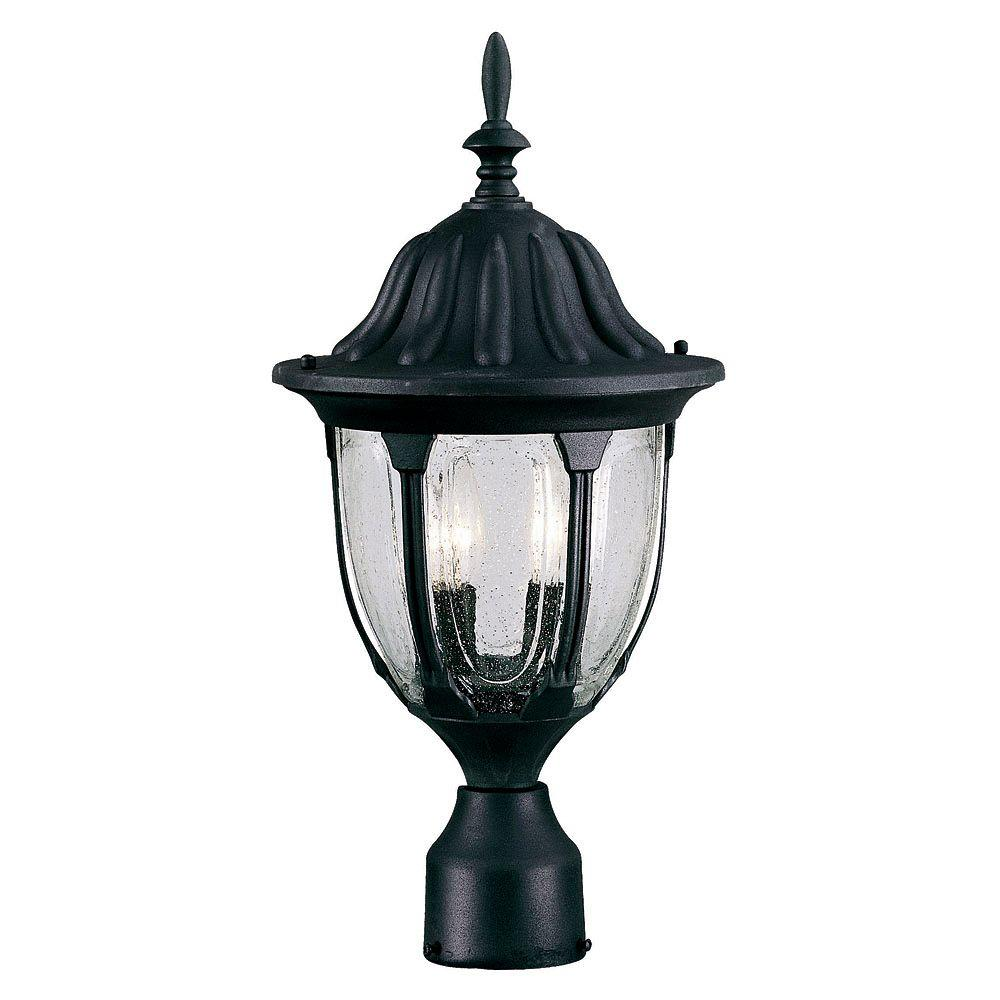 Illumine 2-Light Outdoor Textured Black Post Mount Lantern