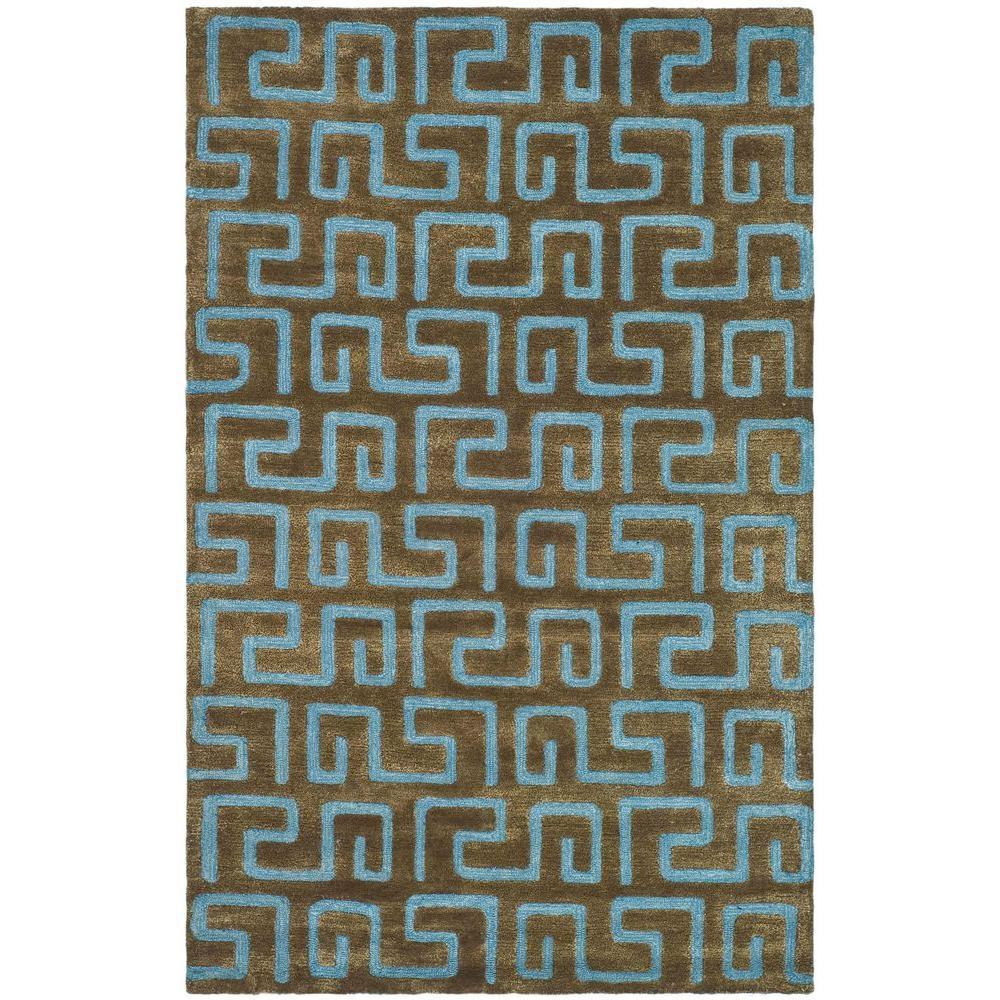 Soho Brown/Light Blue 3 ft. 6 in. x 5 ft. 6