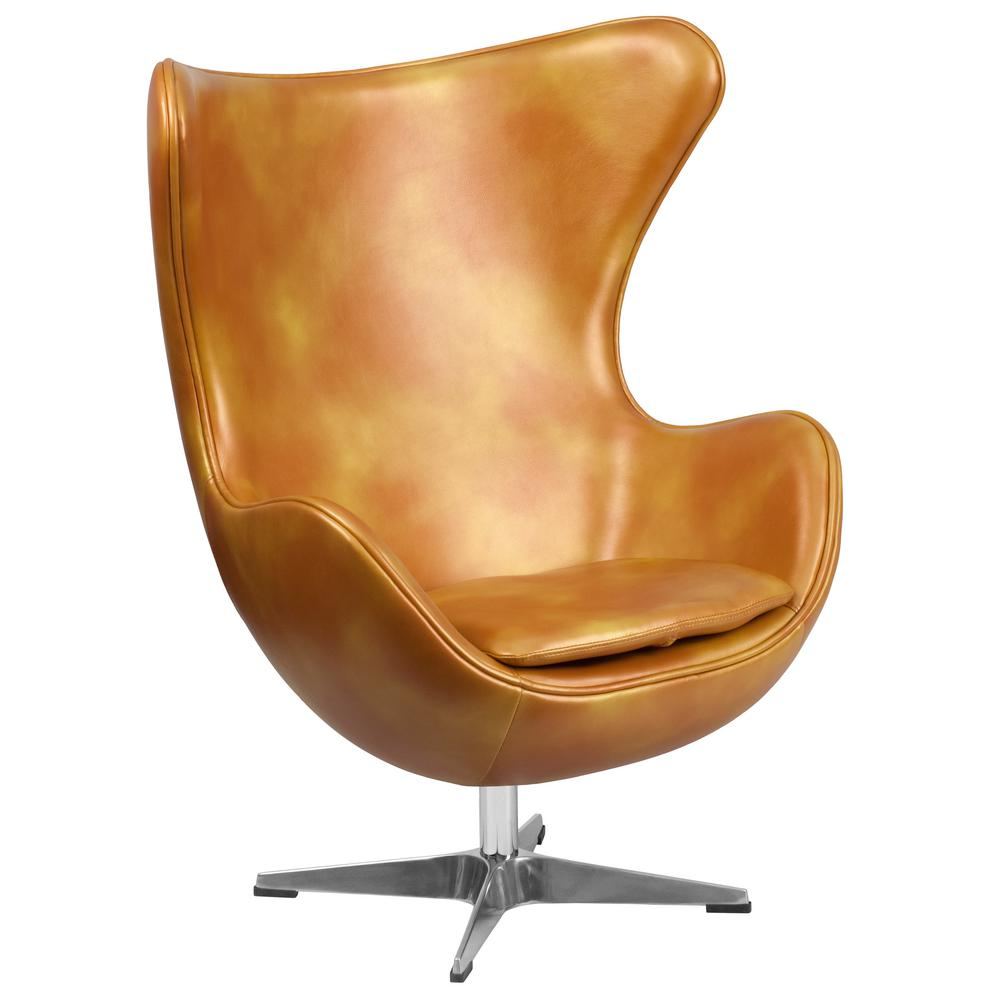 Flash Furniture Gold Leather Egg Chair With Tilt Lock Mechanism