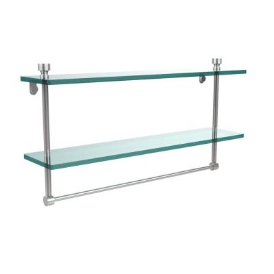 Foxtrot 22 in. L  x 12 in. H  x 5 in. W 2-Tier Clear Glass Bathroom Shelf with Towel Bar in Polished Chrome