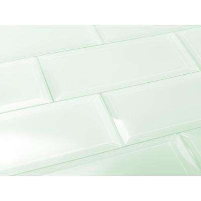 Subway 3 in. x 12 in. Rectangle Green Beveled Matte Glass Peel and Stick Decorative Bathroom Wall Tile Backsplash Sample
