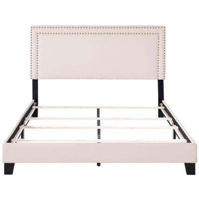 Beige Full Size Upholstered Platform Bed with Nailhead