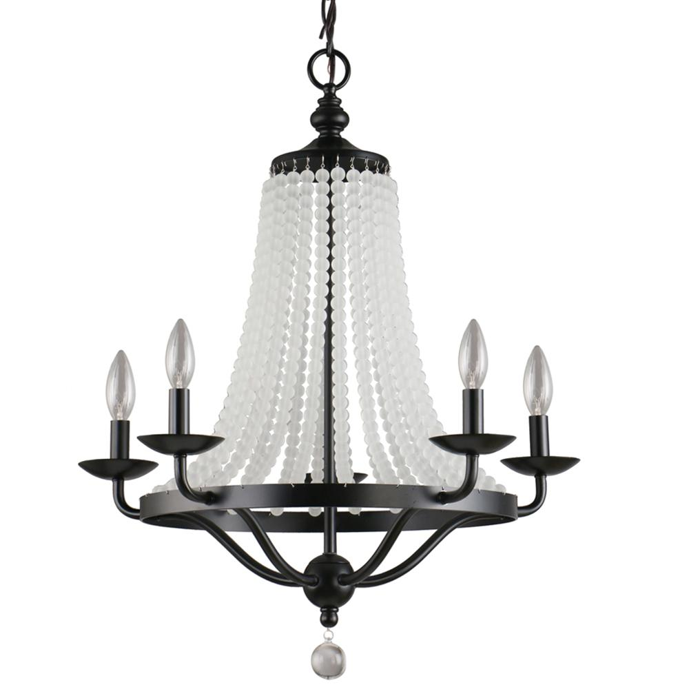 Dsi chloe collection 5 light black chandelier with cascading glass beads