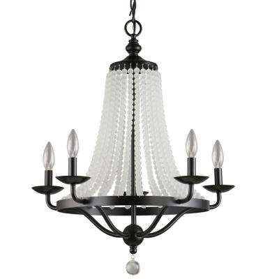 Chloe Collection 5-Light Black Chandelier with Cascading Glass Beads