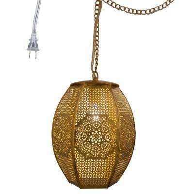 1-Light Gold Pierced Metal Moroccan Sundial Plug-In Pendant