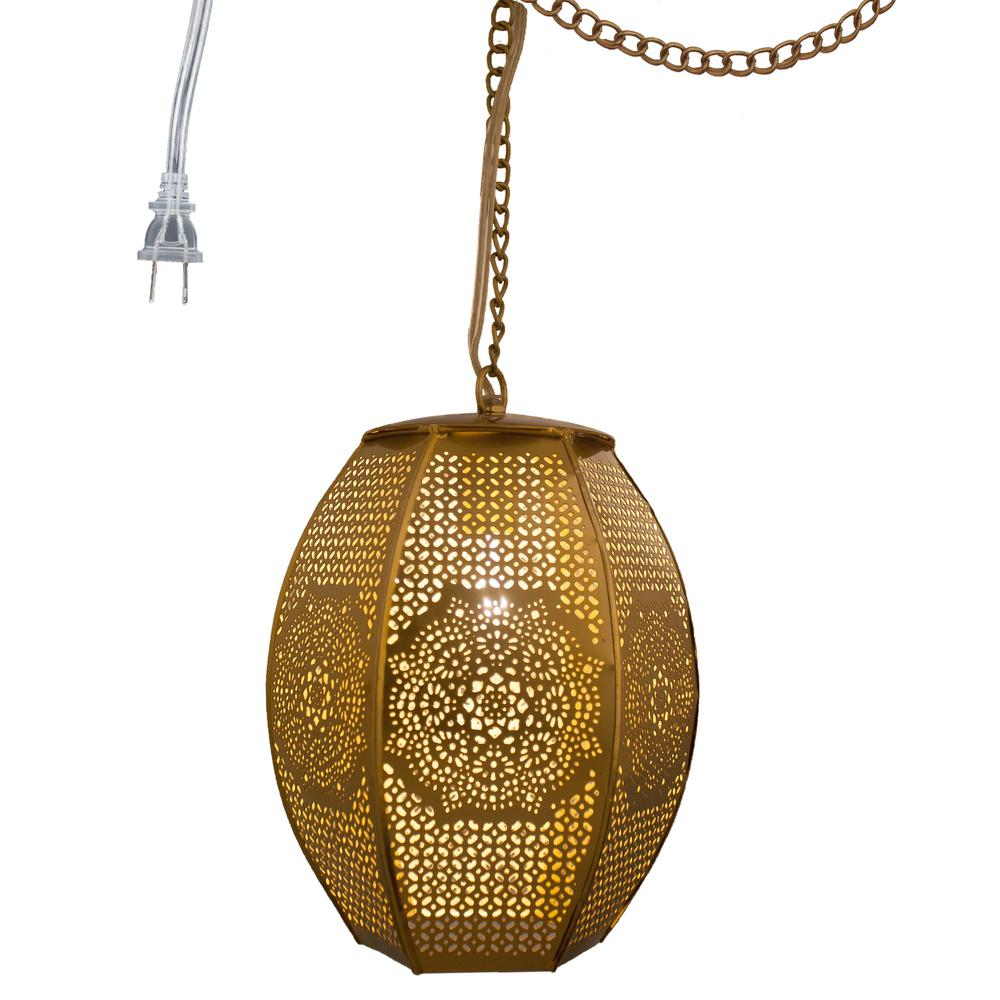 Home Goods Lighting: River Of Goods 1-Light Gold Pierced Metal Moroccan Sundial