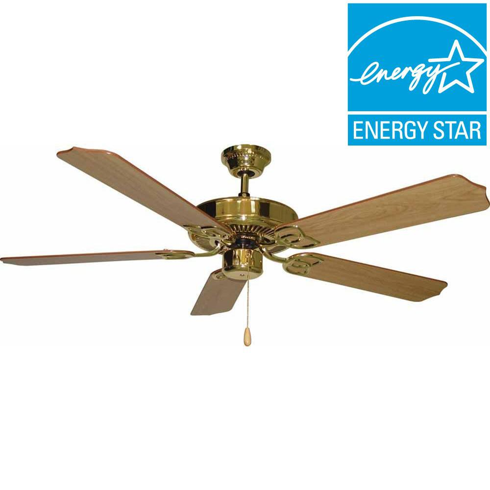 Filament Design Lenor 52 in. Polished Brass Indoor Ceiling Fan
