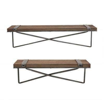 6.89 in. H Farmhouse Metal/Wooden Wall Shelf(Set of 2)