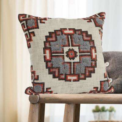 Geometric Medallion Red /Gray Cross 18 in. x 18 in. Throw Pillow