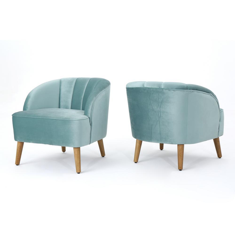 Amaia Seafoam Blue Velvet Upholstered Club Chair (Set of 2)