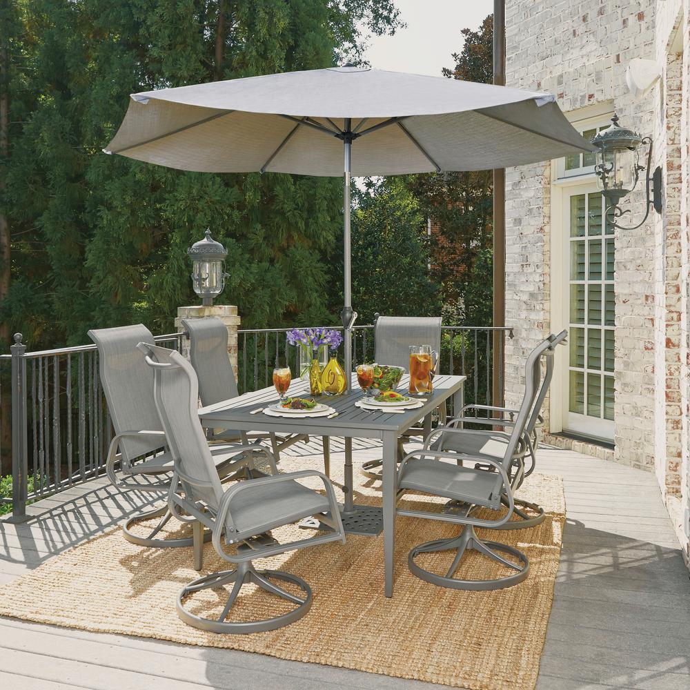 Daytona Charcoal Gray 9-Piece Aluminum Round Outdoor Dining Set