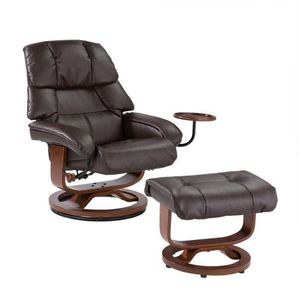 Cafe Brown Leather Reclining Chair with Ottoman UP7673RC