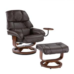 Cafe Brown Leather Reclining Chair With Ottoman
