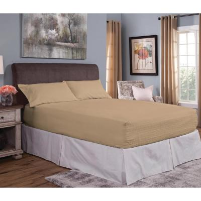 Flannel Bed Tite 4-Piece Fawn Solid 150 Thread Count Queen Sheet Set