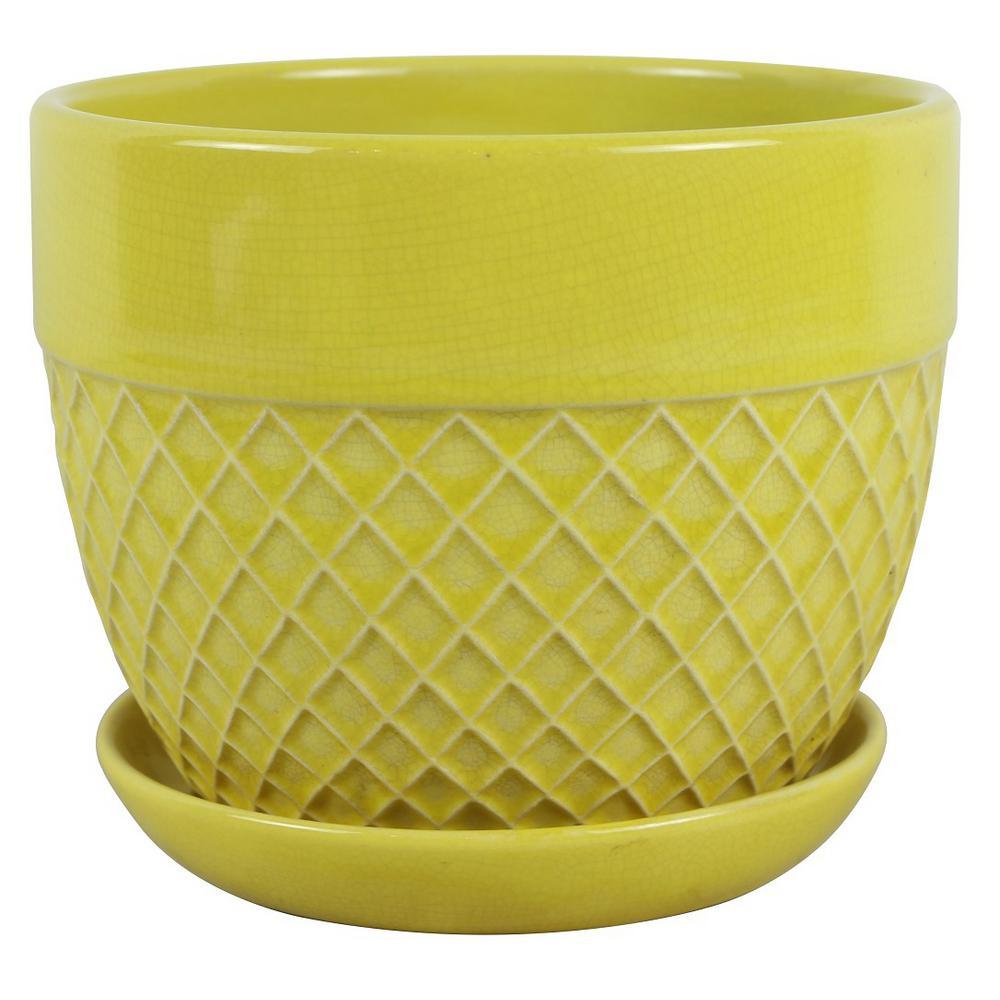 7.5 in. Dia. Yellow Ceramic Acorn Bell Pot
