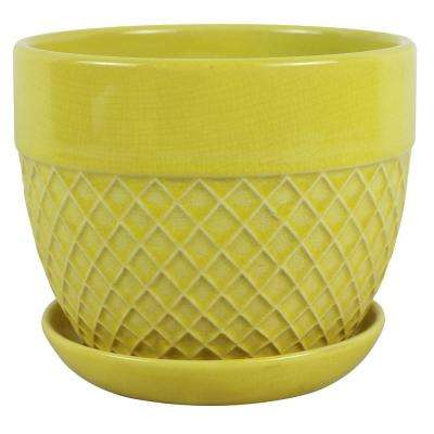 7.5 in. Dia Ceramic Yellow Acorn Bell Planter
