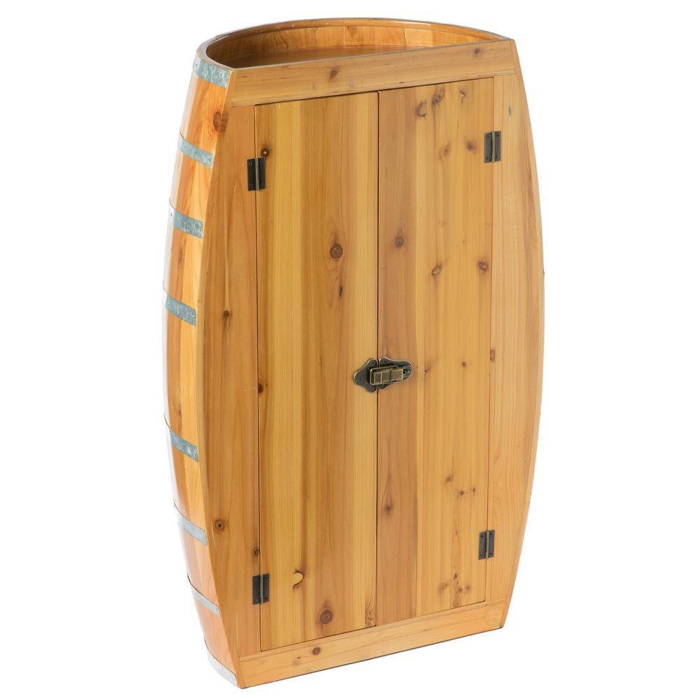 Brown Half Barrel Cabinet Wine Storage With Lockable Double Doors