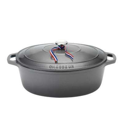 6 Qt. Caviar-Grey Enameled Cast Iron Oval Dutch Oven