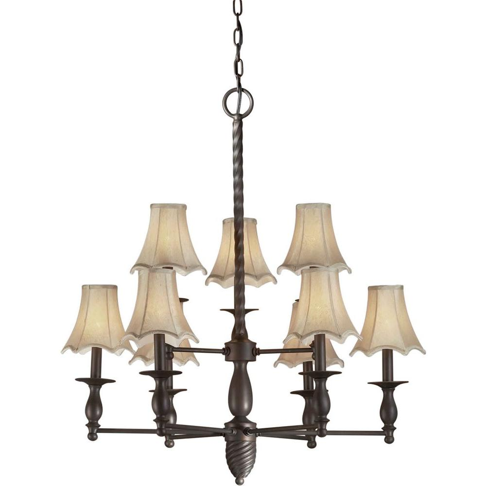 Talista 9-Light Antique Bronze Chandelier with Fabric Shades