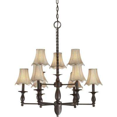 9-Light Antique Bronze Chandelier with Fabric Shades