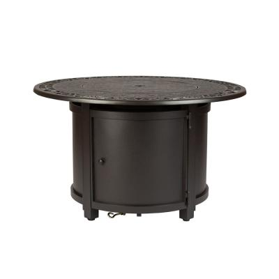 Longpoint 42 in. x 24 in. in. Round Aluminum LPG Fire Pit Table in Mocha