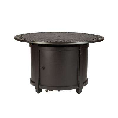Longpoint 42 in. in. x 24 in. in. Round Aluminum LPG Fire Pit Table in Mocha