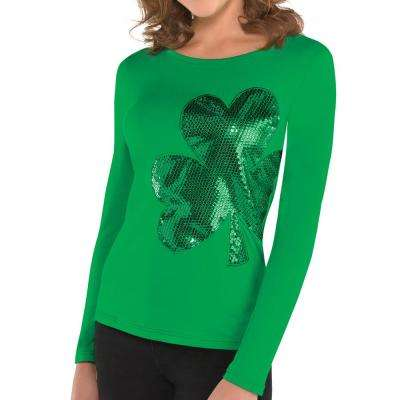 Green Polyester Shamrock St. Patrick's Day Women's S/M Shirt