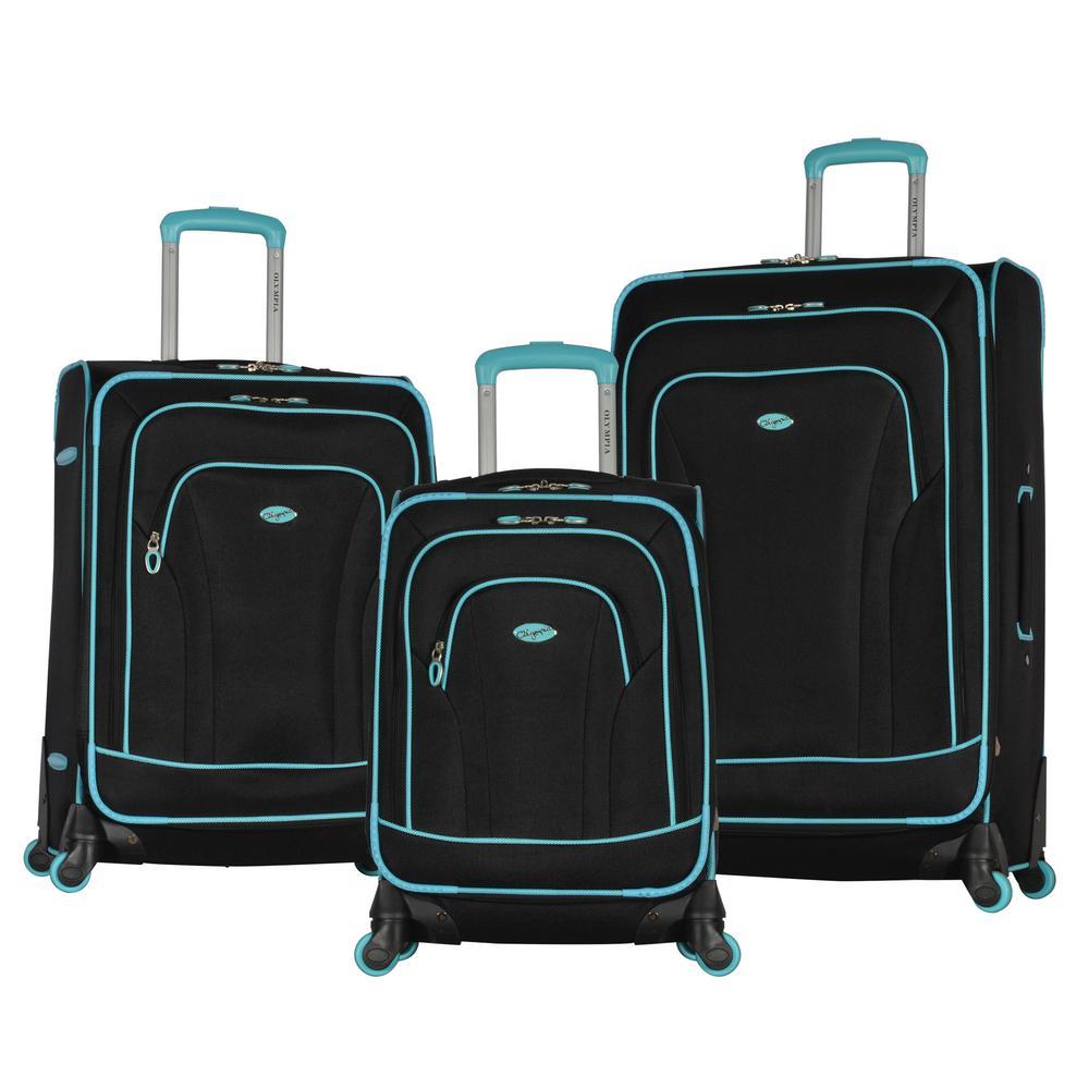 53d4b78dd Travelers Club 3-Piece EVA Black Expandable Vertical Luggage Set (D ...