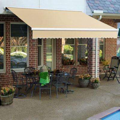 24 ft. Galveston Semi-Cassette Manual Retractable Awning (120 in. Projection) in Linen/Almond/White