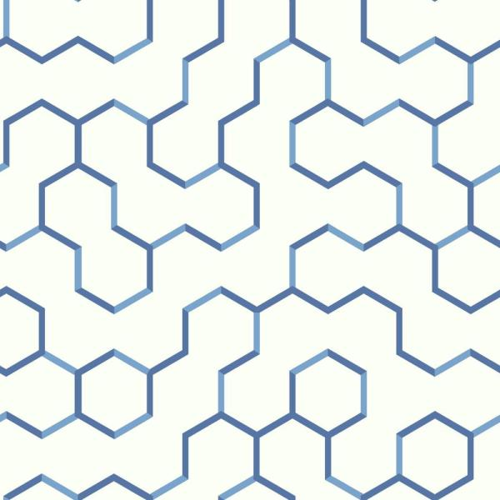 RoomMates 28.18 sq. ft. Blue Open Geometric Peel and Stick Wallpaper