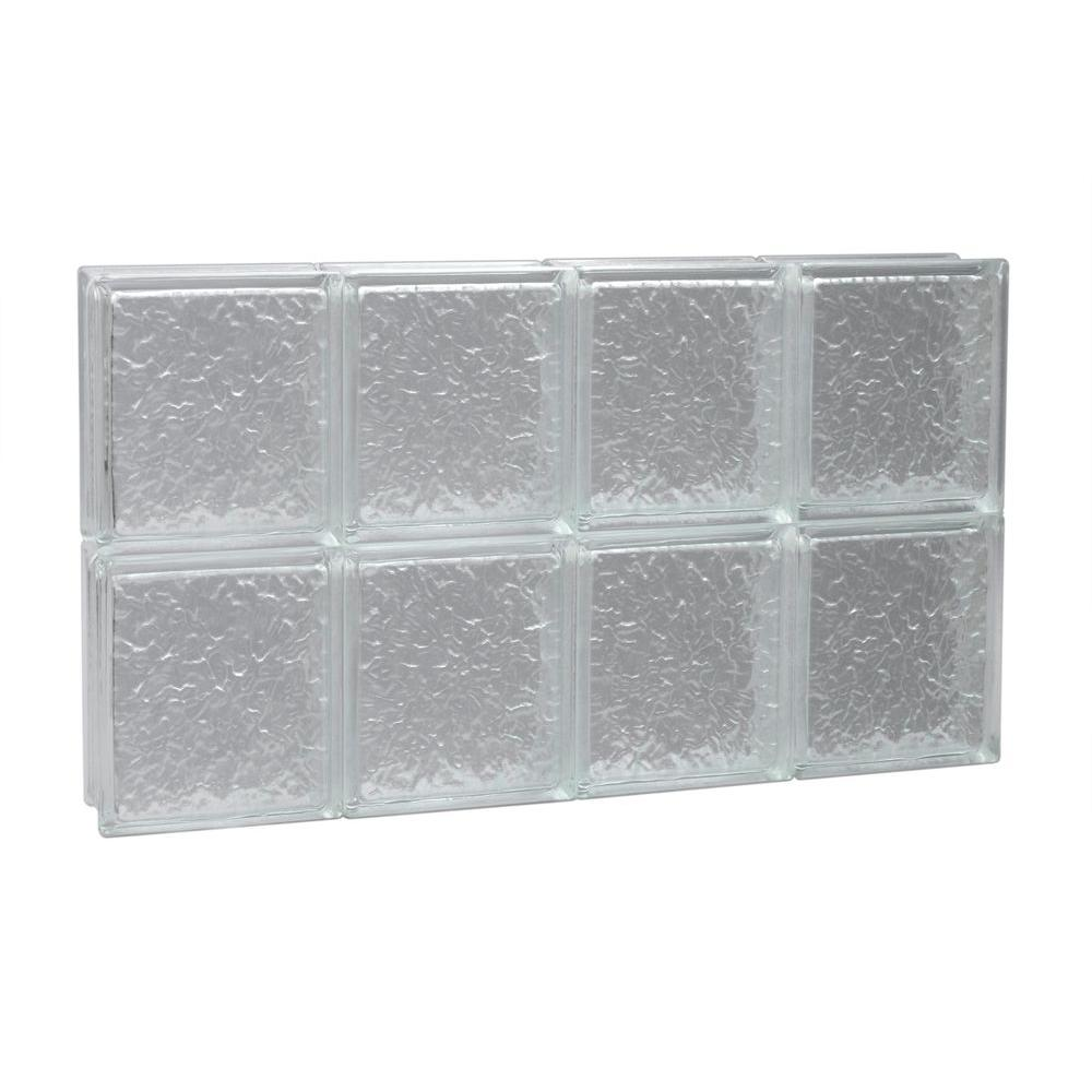 Pittsburgh Corning 31 in. x 15.5 in. x 3 in. IceScapes Pattern Solid Glass Block Window