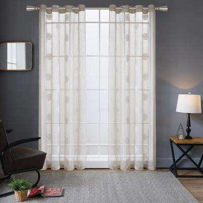 Harper embroidery Sheer Polyester Curtain in Beige - 84 in. L x 52 in. W