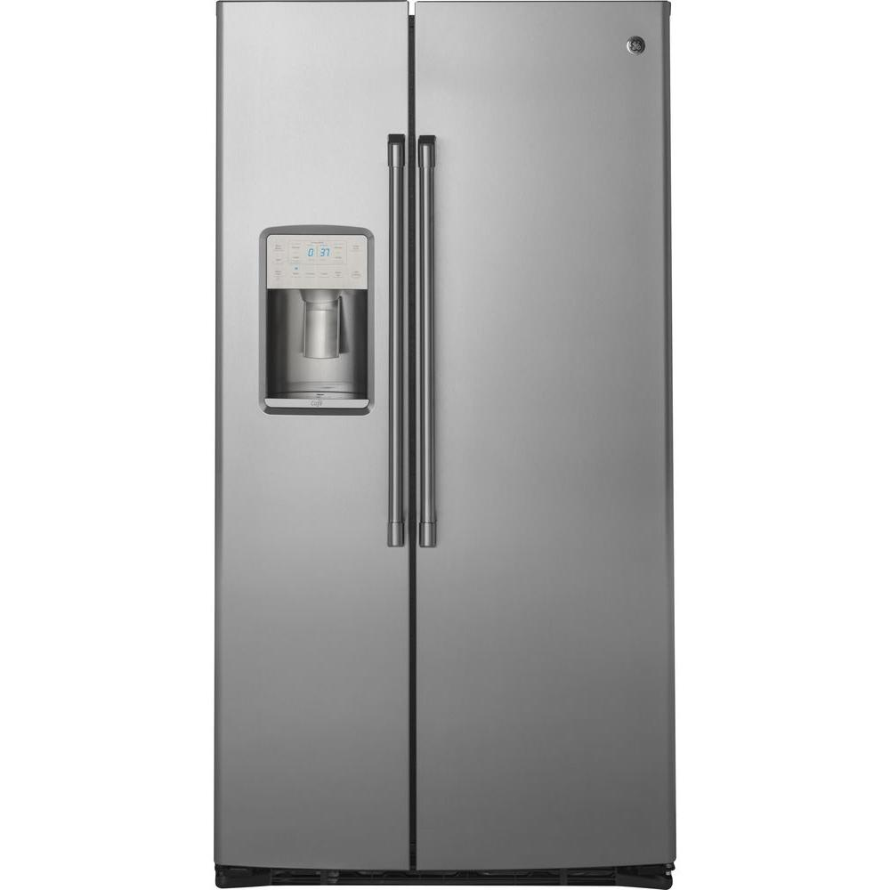 Cafe 21.9 cu. ft. Built-in Side by Side Refrigerator in Stainless Steel, Counter Depth