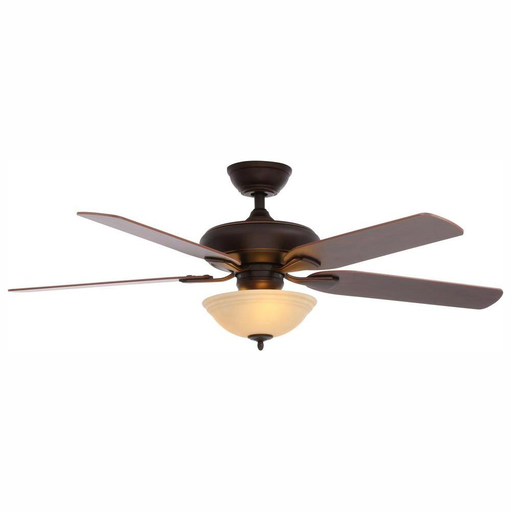 Hampton Bay Flowe 52 in. LED Indoor Mediterranean Bronze Ceiling Fan with Light Kit and Remote Control