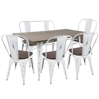 Oregon 6 Piece Vintage White And Espresso Dining Set