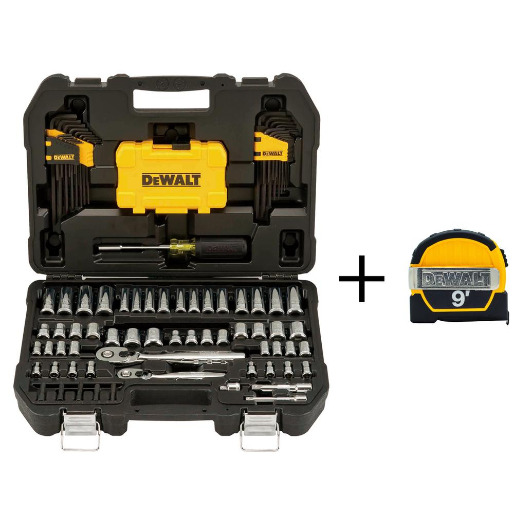 c7822cc9477 1 4 in. x 3 8 in. Drive Polished Chrome Mechanics Tool Set (108-Piece) with  9 ft. x 1 2 in. Tape Measure